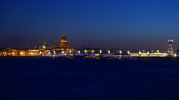 Winter city Neva river and Palace Bridge at night, sparkle illumination Footage