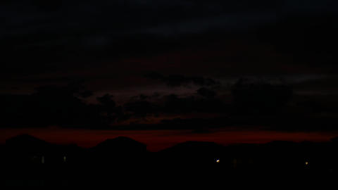 Red sunset time lapse over American neighborhood, 4K Footage