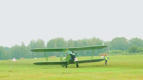 Vintage military biplane Footage