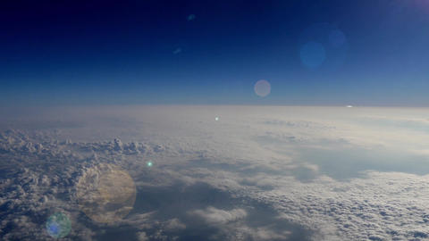 Aerial of Earth's atmosphere with Lens Flare, 4K Footage