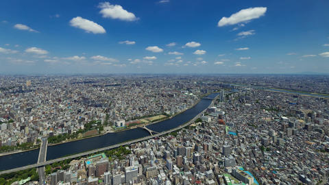 Walk in the air (Blue sky & cloud shape at Tokyo city) Footage