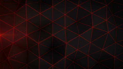 Glowing red triangle polygons background loopable CG動画