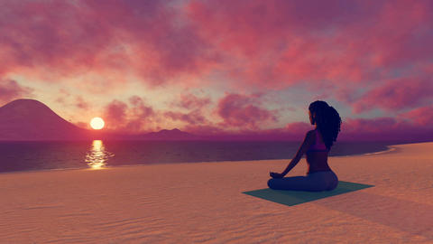 African woman meditating on the beach at sunset