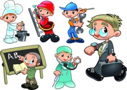 Types of Workers Vector
