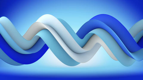 Blue spiral 3D shape spins abstract seamless loop animation Animation