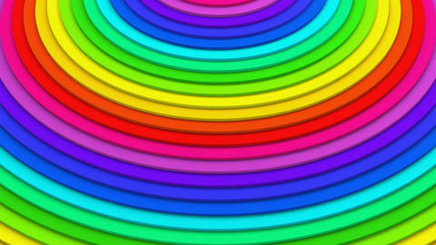 Rainbow concentric lines 3D animation seamless loop Animation