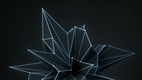 Dark polygonal technology shape rotating 3D render seamless loop animation Animation
