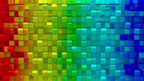 Colorful gradient cubes 3D render loopable animation Animation