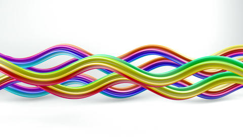 Colorful curvy lines rotating seamless loop 3D animation Animation