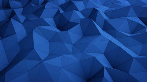 Blue low poly surface waving seamless loop 3D render Animation