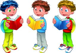 Young studens are reading books Vector