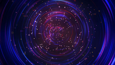 Concentric circles and particles seamless loop animation Animation