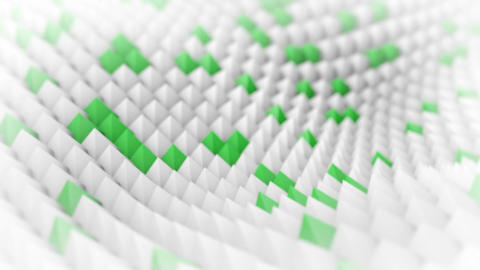 White and green peaks waving. 3D render animation loopable Animation