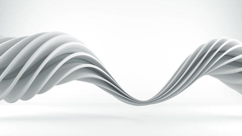 White twisted spiral 3D shape spinning seamless loop Animation