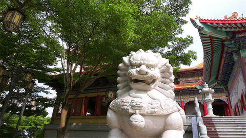 Chinese lion at the chinese temple in Thailand. (Panning shot) ビデオ