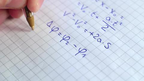 Writing Formulas Of Physics 2 Footage