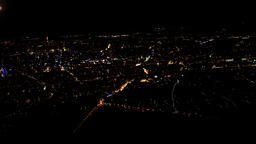 Flying over Frankfurt city by night Footage