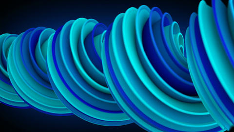 Blue spiral curve rotates abstract 3D animation loopable Animation