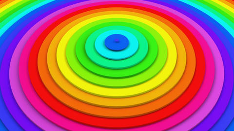 Bright colorful concentric circles 3D animation seamless loop Animation