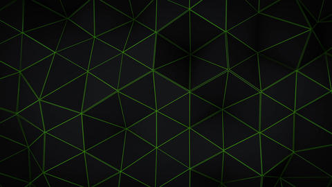 Glowing green triangle polygons background loopable CG動画