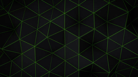 Glowing green triangle polygons background loopable, CG動画素材