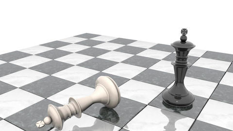 Two chess figures on the playing field. Black king is a winner and a loser white Animation