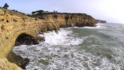 Massive waves splashing at the cliffs Footage