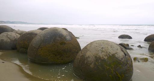 Moeraki Boulders in New Zealand Footage
