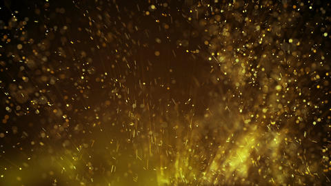 Gold particles flying in turbulent air loopable motion background Animation