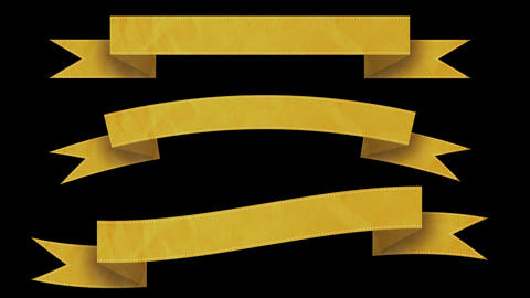 Animated Ribbon Banners For Your Text. Yellow stock footage
