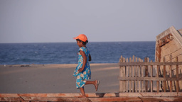 Young girl running at the beach,Batticaloa,Sri Lanka Footage