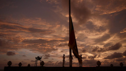Lowering the flag ceremony at beach,Colombo,Sri Lanka Footage