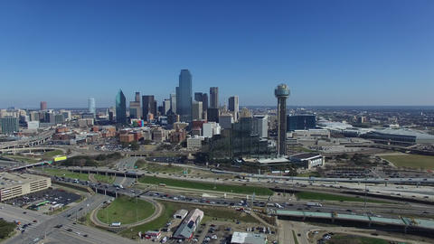 Reunion Tower and downtown Dallas Live Action