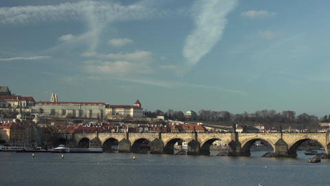 Charles Bridge at Day with Vltava River Footage