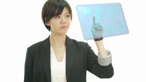 Businesswoman pressing buttons on screen Footage