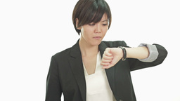 Businesswoman looking at watch upset annoyed Footage