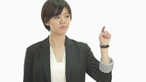 Businesswoman pressing imaginary buttons Footage