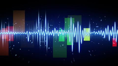 Blue digital sine audio wave form seamless loop animation Animation