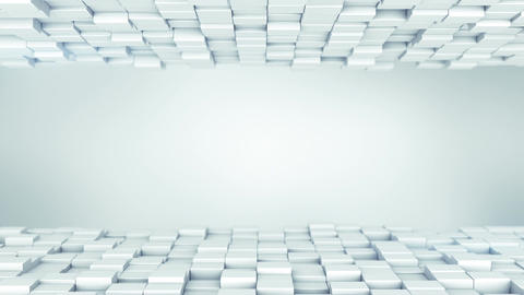 White boxes abstract background 3D render loopable animation Animation