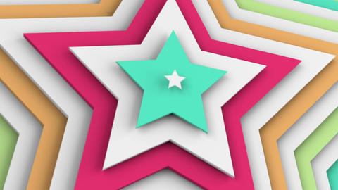 Multicolor stars 3d render seamless loop animation Animation