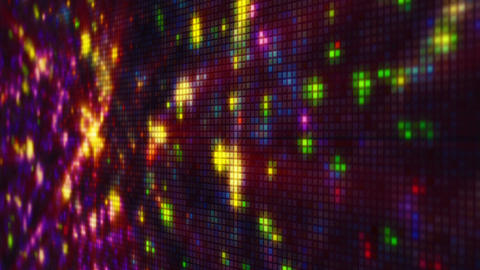 Fireworks on pixelated LED panel loop animation shallow DOF Animation