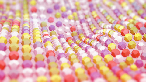 Pink techno grid surface waving 3D render animation loopable Animation