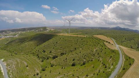 Contemporary wind power plant in mountains, eco-friendly... Stock Video Footage