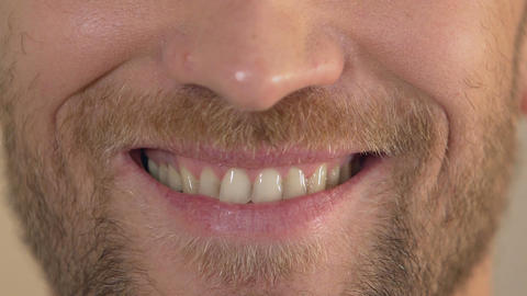 Man with beard smiling into camera, close-up of face, happiness and joy, emotion Footage