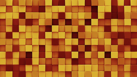 Chaotic extruded orange cubes 3D render loopable animation Animation