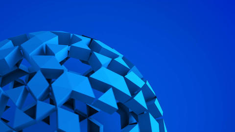 Blue low poly ball rotating seamless loop 3D render Animation