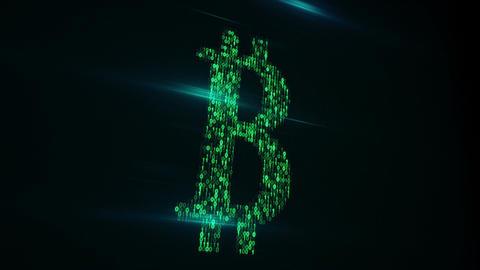 Bitcoin shape of binary code on monitor loop animation Animation