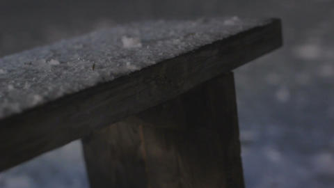 Slow Motion Wooden Handrail Covered with Snow Footage
