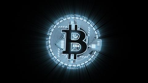 Bitcoin BTC Currency Sign Digital Animation with Alpha Channel Animación