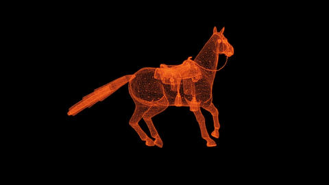 animation - rotation of wire frame isolated horse on black screen Animation